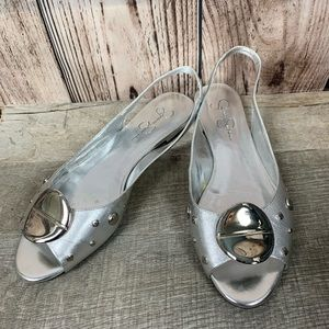 Jessica Simpson Shoes - Jessica Simpson silver flats open toes. 575